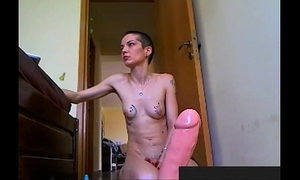 Girl with short hair taking a giant anal sex-toy. visit sexxxcams.eu for greater amount.