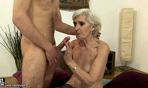 Sexy golden-haired aged fucking and engulfing a youthful stud