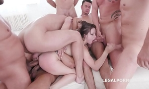 10 on 1 gang group sex for ultra whore gabriella lati 10 swallows!