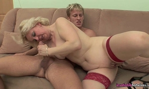 Mature in red hawt underware fucking her youthful fellow