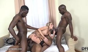 Hardcore group-sex double anal double penetration interracial spunk flow facial
