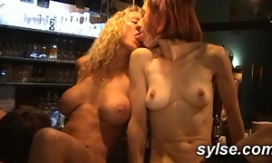 Anal group sex for three milfs maids in the pub
