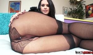 Roxy raye masturbates , gives stockinged footjob