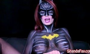 Canadian milf shanda fay is batgirl and receives off with large toy!