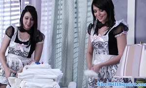 Squirting blackhaired maids sharing a dong