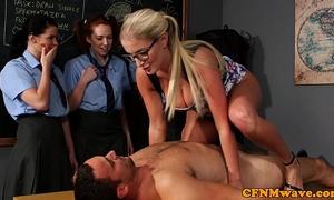 Cfnm sex education from the teacher for desirous beauties