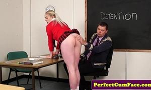 Blonde schoolgirl sucks