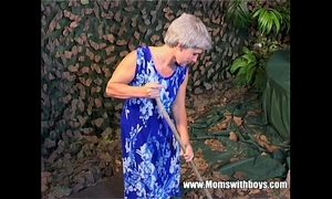 Skinny grey haired granny old twat drilled