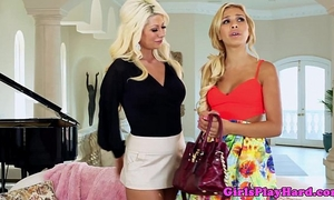 Tanned lesbo cuties receive wicked
