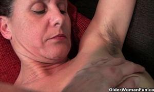 Hairy granny with hard teats