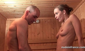 Horny golden-haired hard anal screwed during the time that getting her cum-hole bald in a sauna