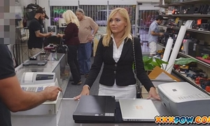 Sexy milf gangbanged and groans loud in pawn shop!