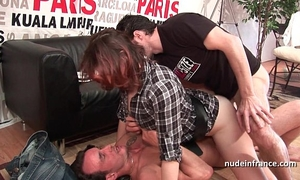 Hard casting french redhead analized and double permeated with a fine facial