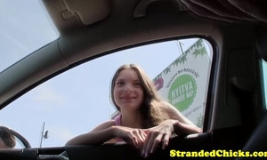 Teen hitchhiker screwed pov style outdoors