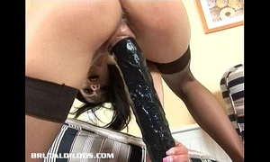 Vicky swallows a brutal sex tool with her oozing moist fur pie