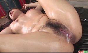 Busty and oiled up woman ai okada knob engulfing and humping
