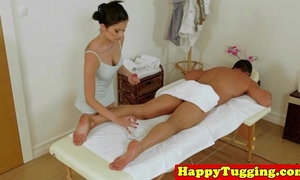 Real japanese masseuse pampering strapon