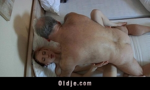 Old pervert dude drilled by a slutty youthful maid