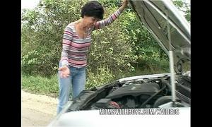 Brunette older copulates youthful chap samaritan