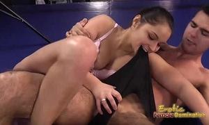 Lana the dark brown boxer dominates her guy in the ring