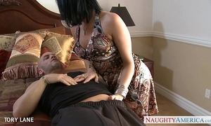 Chesty dark brown tory lane receives booty drilled