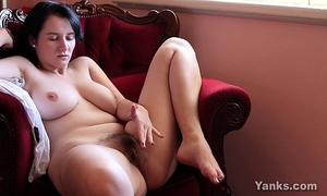 Busty brunette aeryn masturbating her shaggy cunt