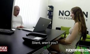 Horny bitch rides her bosses hard knob