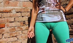 Big cameltoe legal age teenager in ultra constricted leggins! big round wazoo n milk cans