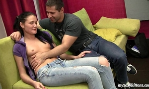 Brunette legal age teenager kitty receives team-fucked