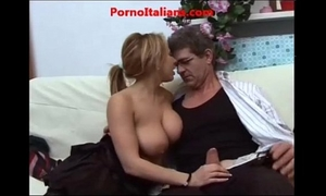 Busty italian blow job old dude