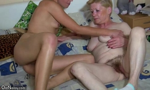 Oldnanny granny with bushy muff, juvenile hotwife, and toys