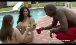 Big titted angelina castro & lexxxi take on biggest cock by the pool!