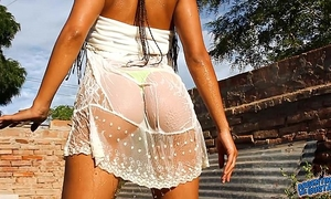 Most incredible arse love muffins n cameltoe playing with water & stripping!