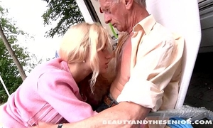 Teen sweetheart engulf an old dick