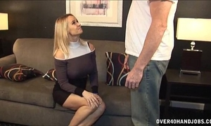 Sexy milf jerks off a exposed chap