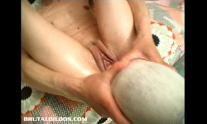 Gina jams a biggest object in her juicy snatch