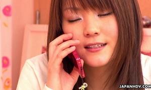 Japanese housewife having phone sex