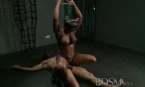 Bdsm xxx caged serf guy acquires hardcore treatment from his rock hard and lewd mistresse