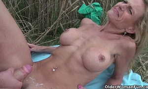 Grannies and milfs engulf and fuck outdoors