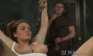 Bdsm xxx caged and manacled slaves receive a priceless slapping previous to from doms