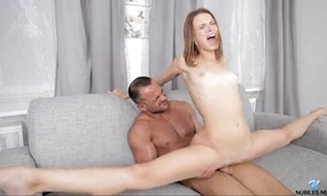 Skinny coed does the splits on her mans rod