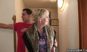Busty granny is picked up by youthful chap