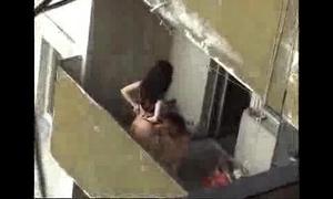 Spy movie of next door cheating hotwife fucking on the balcony