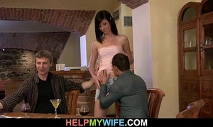 He watches this babe sucks and rides stranger's shlong