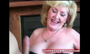 Cute golden-haired sexually excited granny