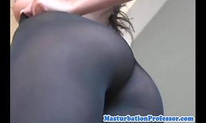 Nylon fetish sweetheart tries on hose