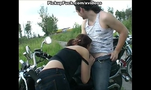 Girl engulf for motorbiking