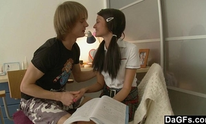 Pigtailed legal age teenager 1st anal experience with large shlong