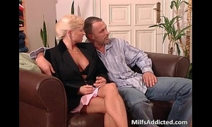 Two lascivious milf blondes receives bawdy cleft