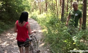 Busty biker sweetheart terry receives nailed in woods